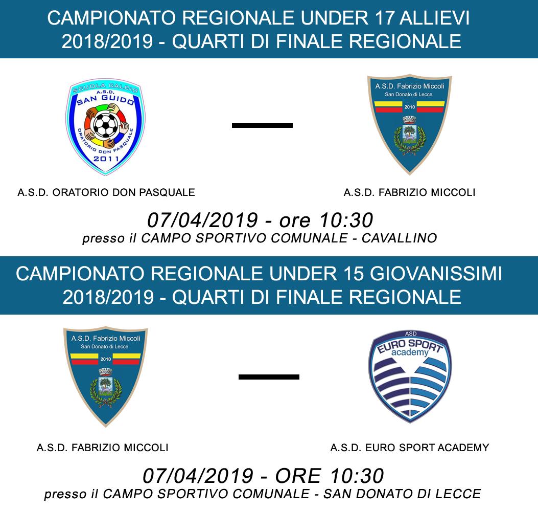 PARTITE 7 APRILE 2019 - Quarti di finale Campionato Regionale